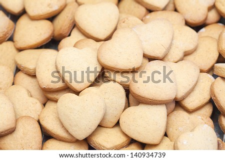 A heap of delicious heart shaped short bread cookies