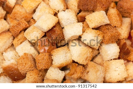 A heap of dried bread pieces