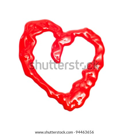 a heart drawn with red paint on a white background