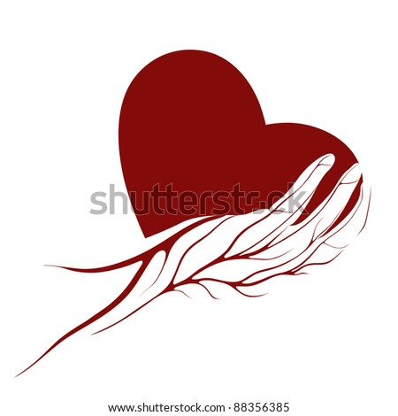 A heart in a hand logo or sign.  Raster variant.