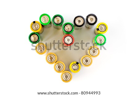 A heart made from AA batteries isolated on the white background