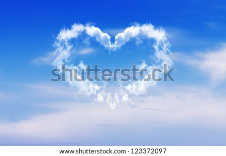 A heart made of clouds against a blue sky