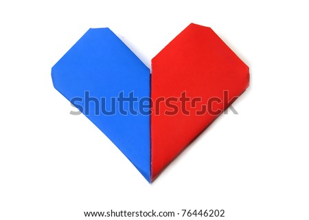 a heart made with paper of different colors on a white background