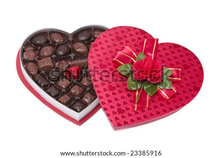 A heart shape chocolate gift box