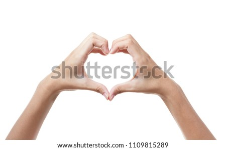 A heart-shaped gesture / hand gesture on white background #1109815289