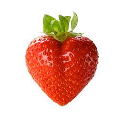 a heart shaped strawberry isolated on a white background