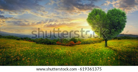 A heart shaped tree on a panoramic landscape. #619361375