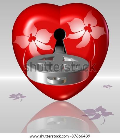 A heart with a keyhole and a key inside it / Key to heart