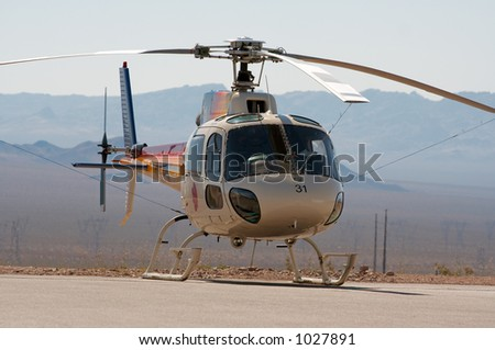 A helicopter with a dessert background. Photo stock ©