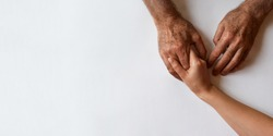 A helping hand. Human support. Generration connection. Young female hopding senior adult men hand.