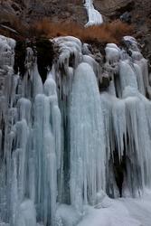 A high altitude frozen falls near Leh in Ladakh,India