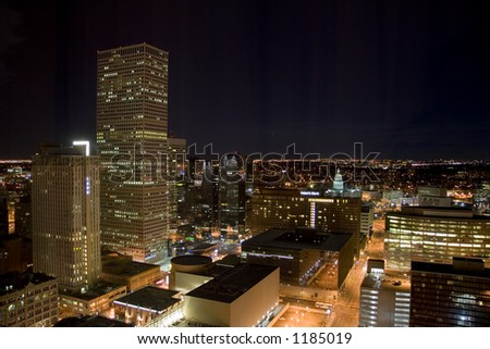 A high altitude view of the Denver downtown core including the Colorado State Capitol.