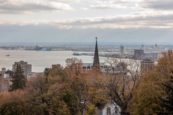 A High Angle Fall Cityscape View of Duluth, Minnesota and Superior, Wisconsin from Cascade Park over Lake Superior