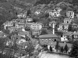 A high angle greyscale shot of a small village on a hill