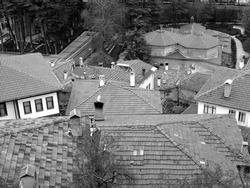 A high angle greyscale shot of the roofs of the houses of a small village on a hill