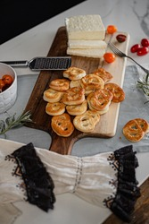 A high-angle of ready Kringle cookies and other ingredients on the table