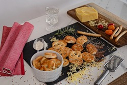 A high-angle shot of ready Kringle cookies and other ingredients on the table