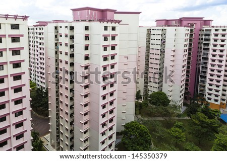 A high angle view of a residential estate with pink color theme- Singapore