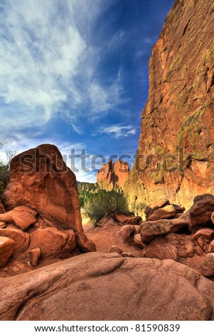 A high dynamic range landscape photo of the red rocks in the Garden of the Gods park in Colorado Springs, Colorado.