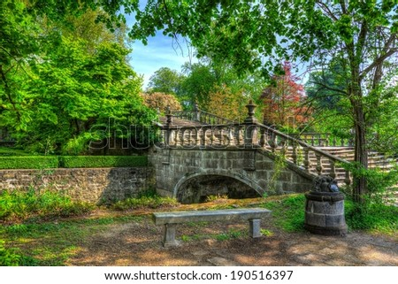 Stock Photo A high dynamic range painting alike picture of a small bridge over water with trees and sky in the background