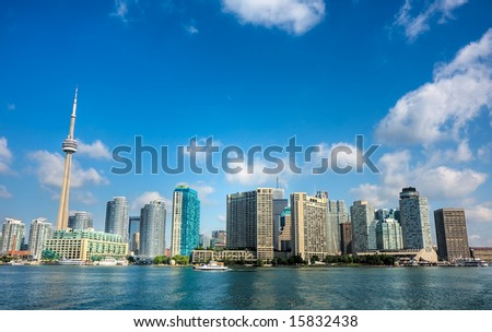 A high dynamic range shot of the Toronto, Ontario, Canada city skyline.