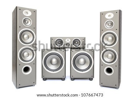 a high fidelity audio surround system isolated on white