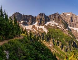 A high mountain trail at Cascade Pass in North Cascades National Park.