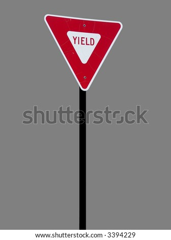 A high quality isolated metal yield sign close up image