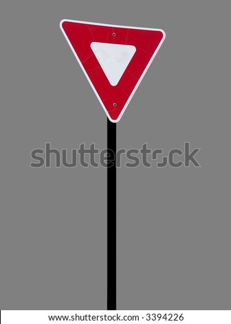 A high quality metal triangle sign close up image