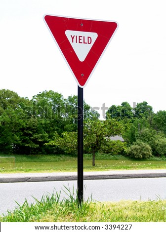 A high quality metal yield sign close up image