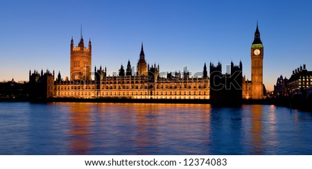 A high resolution panoramic view of the Palace of Westminster from the South Bank of the Thames in London, England