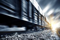 A high-speed Freight train, motion blur.