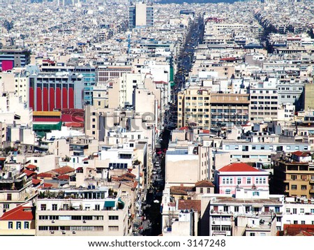 A high view of the Athens city center