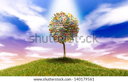 A highlighted stylized tree with leaves of australian dollar bank notes on a grassy hill with a blue sky backdrop