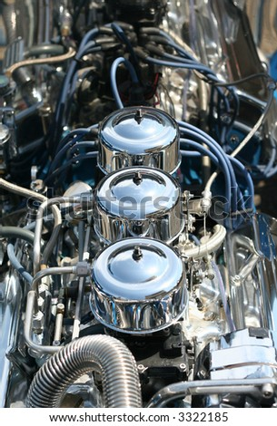 A Highly Polished Chrome Hot Rod Engine Block