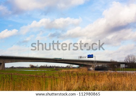 A28 highway crossing the river Ijssel at Zwolle in The Netherlands