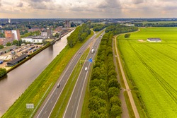 A7 Highway in between a canal and the countryside near Hoogezand Sappemeer, Groningen Province, the Netherlands.