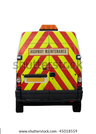 A Highway Maintenance high visibility van (British) isolated on a pure white background