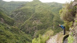 A hiker looks over the edge of a steep mountain cliff into a deep valley along a levada trail path near 25 Fontes, Madeira, forested hills in the background - adventure, danger, exciting, funny
