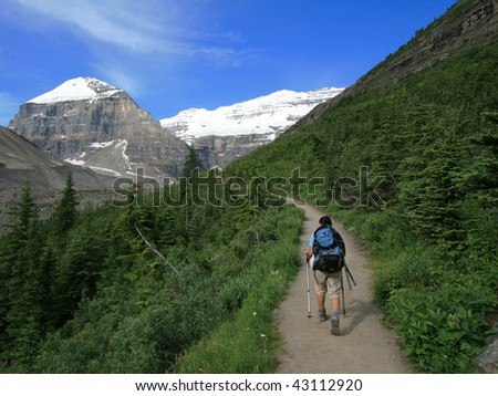A hiker on the Plain of Six Glaciers Trail heading towards Mount Lefroy and Mount Victoria. Banff National Park, Alberta, Canada.