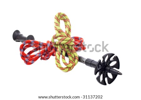 A hiking pole and two ropes with knot reflected on white background