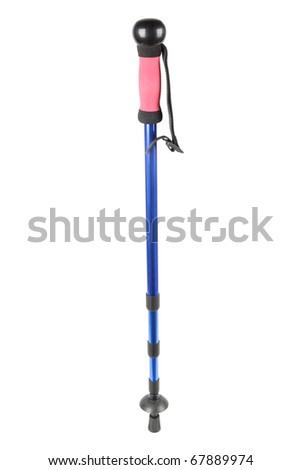 a hiking pole isolated on white,outdoor sports device