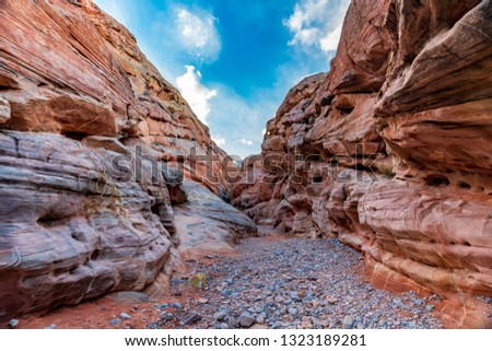 A hiking trail through the canyons and valleys of the Valley of Fire near Las Vegas, Nevada, United States.