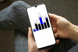 a histogram with columns and years on the screens of a mobile phone in the hands of a girl, an analysis of the years from 2017 to 2022, a sub-view of the totals, a histogram