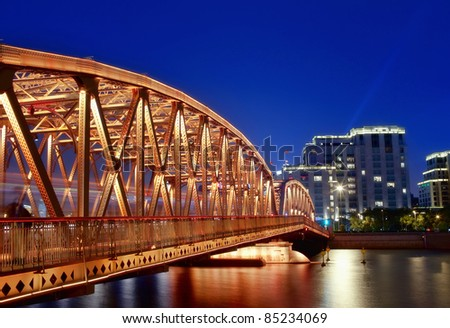 A historic bridge at Shanghai bund night