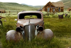A historic car in Bodie Ghost Town