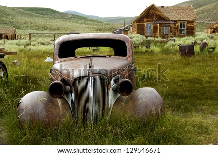 a historic car in bodie ghost...