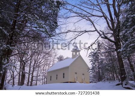 A historic church in Smoky Mtn Nat'l Park's Cades Cove Photo stock ©