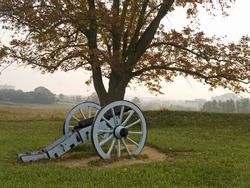 A historic revolutionary war cannon on display at Valley Forge National Historic Park.