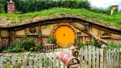 A hobbit house in the Hobbiton park located in Matamata, Newzealand.